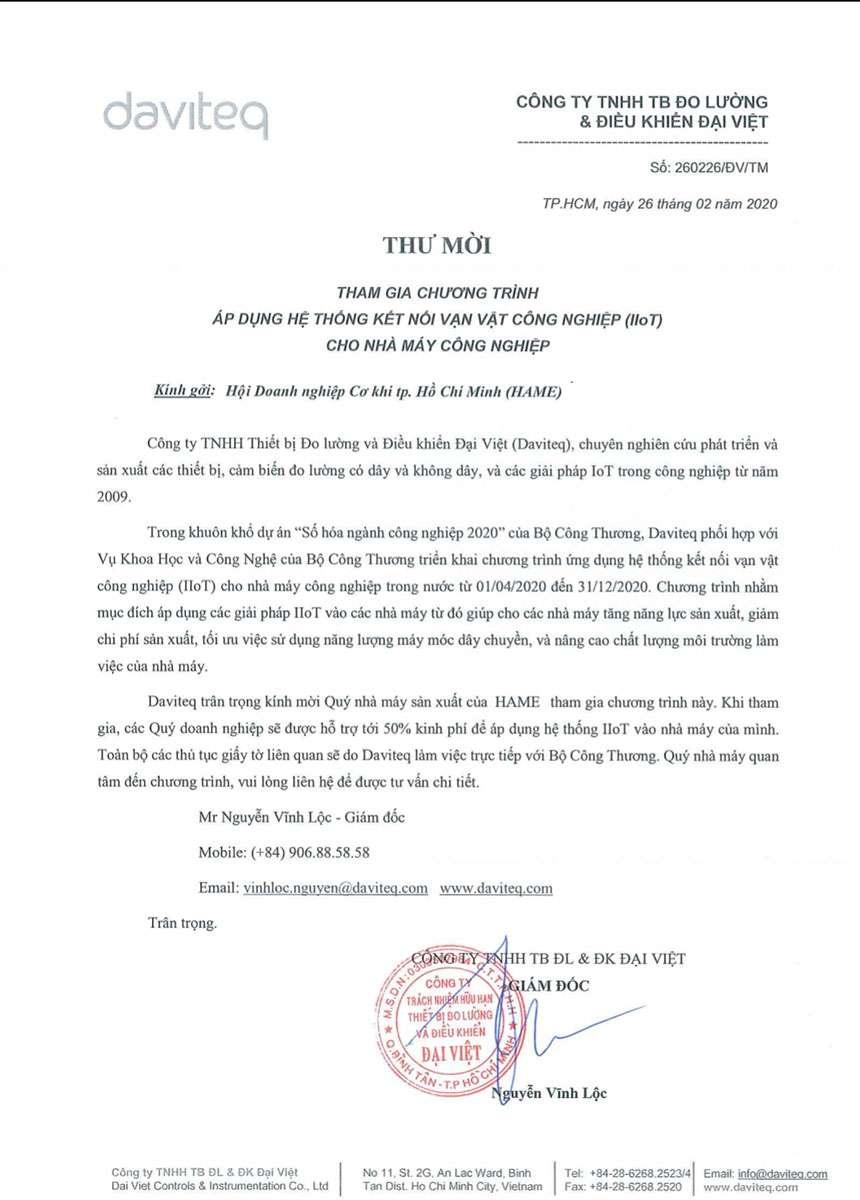 Công ty TNHH Thiết bị Đo lường và Điều khiển Đại Việt (Daviteq) trân trọng kính mời_compressed